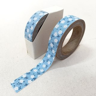 Cloth tape - blue flowers in spring floral cotton candy []