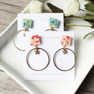 Starry Series - Gravel Geometric Earrings Ear Clips