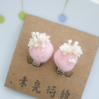 To be continued | pink wool felt fresh and dried flower earrings jewelry gifts girls clip-spot