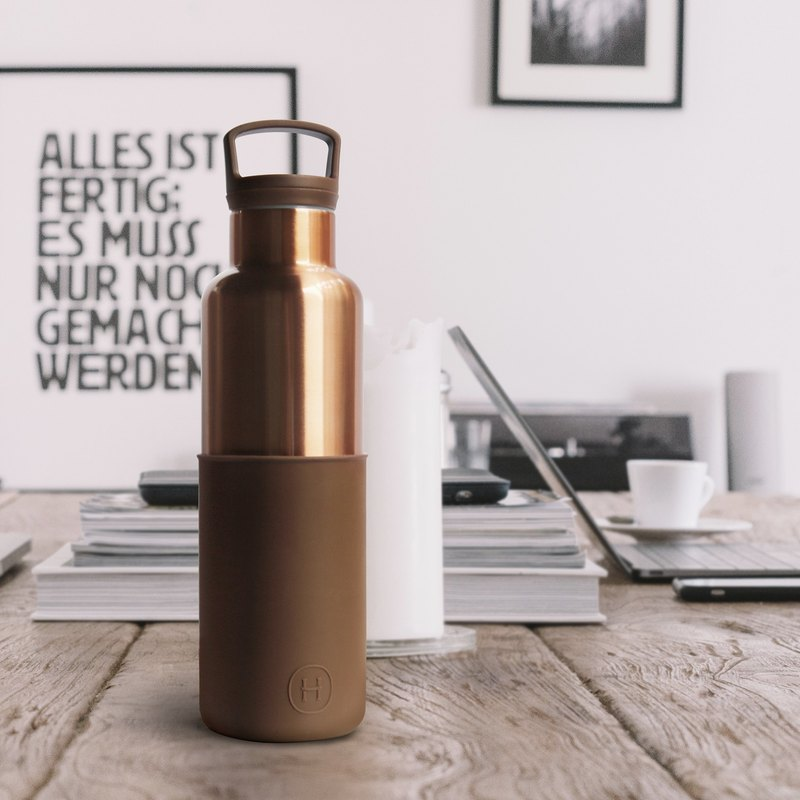 美國HYDY時尚保溫水瓶, CinCin Deco系列-摩卡-古銅金 - 590ml