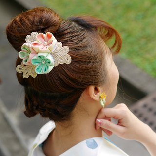 KOKONOE [曙叶] Japanese style and wind cloth flower / つまみ fine work lace silk hair comb