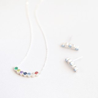 Candy color set) Rainbow Arch Necklace Earring Set Silver 925