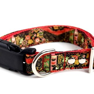 Kabuki Kimono Dog Collar - Red, Black, Green - Medium Size