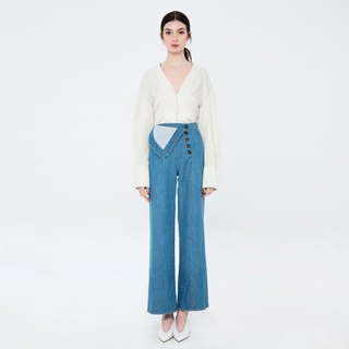 VACAE tumbling denim wide tube trousers