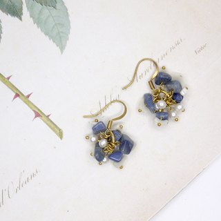 Blossoming flower series Irregular shell Turkey blue earrings (can change the clip type)