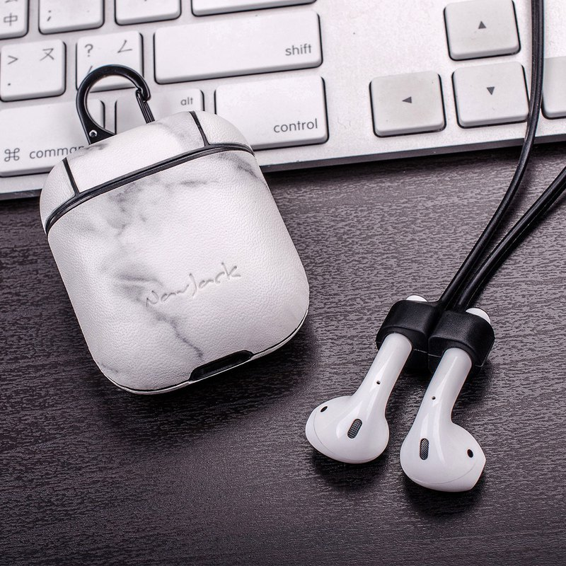 NavJack│APPLE │AirPods │藍芽耳機收納保護盒附掛繩 大理石白