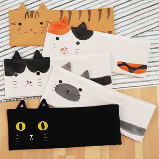 Green kitten / tableware bag / tableware storage bag / environmental straw bag