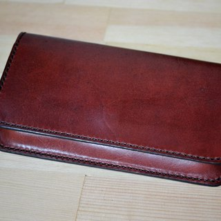 Real leather vegetable tanned hand made mobile phone bag wallet type mobile phone bag custom printed English letters