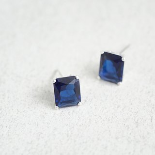 Sapphire square earrings silver 925