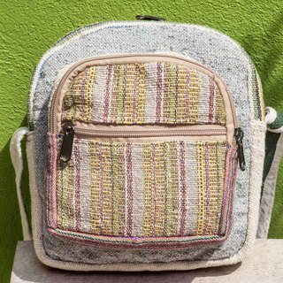 Natural hand-woven cloth splicing slung backpack backpack shoulder bag mobile phone bag - Morocco desert stripe