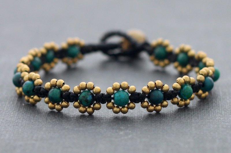 串珠手鍊,石黃銅珠子手鐲,矽孔雀手鐲,波西米亞風波西米亞別緻,花女嬉皮手鍊