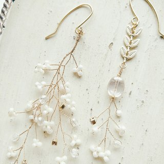 Momolico peach lily romantic flower white jade earrings can be clipped