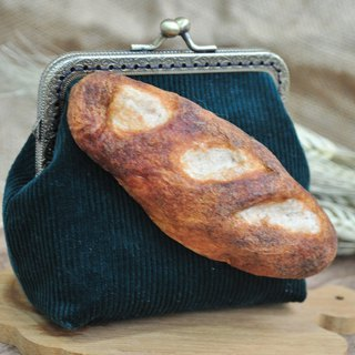 [Hand Wrap Felt]Baguette Bread Decoration Small Gold Package -Green - Attached 110cm Metal Skating Chain