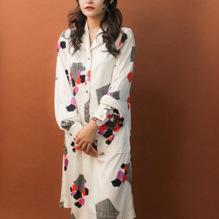 Vintage autumn and winter made in Japan 70s pop style geometric print white long-sleeved vintage dress
