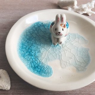 Swimming Rabbit- Handmake Ceramic and glass Jewellery plate