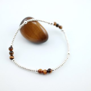 [ColorDay] Xi Zizi Tiger Eye Silver pebbles - elastic bracelet (Tiger's eye Silver Bracelet)