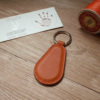 Minerva box wrestling leather leisure card chip pendant - key ring B section - orange coffee