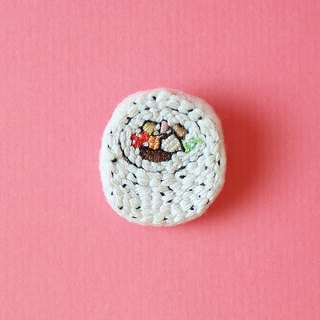 Mini Hand Embroidered Brooch / Pin Flower Sushi