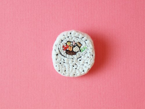 Mini hand embroidery brooch / pin flower sushi