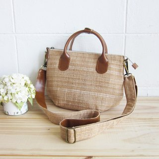 Cross-body Sweet Journey Bags S size Botanical Dyed Cotton Natural-Tan Color