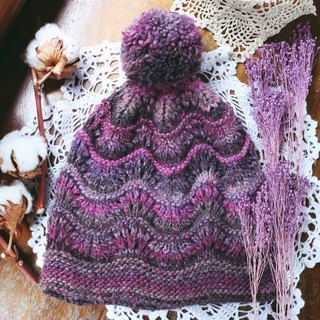 Handmade - Purple Tao waves - wool wool cap