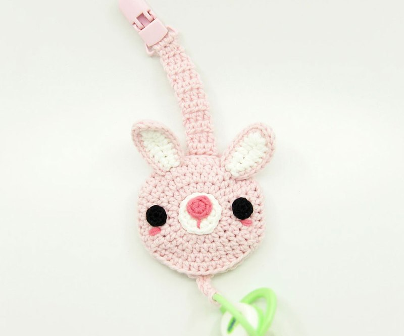 Powder rabbit / pacifier chain clip + pacifier storage bag /