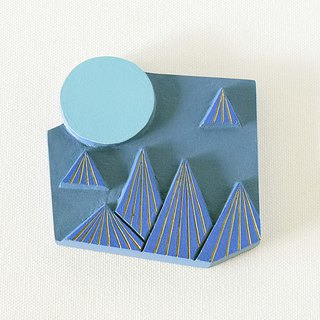 Artdeco Hand Mirror  (mountain - blue)