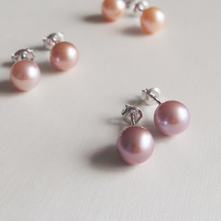 Classic Natural Purplish Color Freshwater Pearl 925 sterling silver earrings
