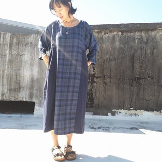 Vintage Check cotton wool dress _ blue