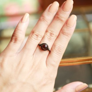 7mm red garnet copper ring <Black>