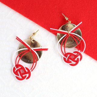 japanese style pierce earring / mizuhiki / japan / accessory / sun / red / gold