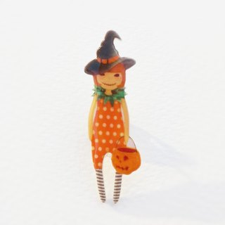 Small Q Series Handmade Products - Halloween Witch Original Illustration Halloween Witch Pumpkin Light / Pin Brooch Gift