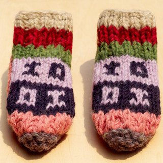 Limited Christmas gift a knitted pure wool warm socks / wool socks child / children wool socks / stockings bristles / Knitting wool socks / children's indoor Socks - pink forest-based national totem