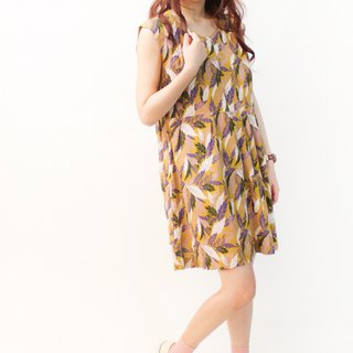 Retro Summer Tropical Leaf Print Olive Yellow Sleeve Vintage Dress Vintage Dress