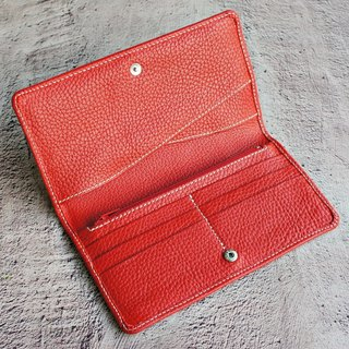 Leather zipper long folder - rose red passport holder cell phone bills long wallet