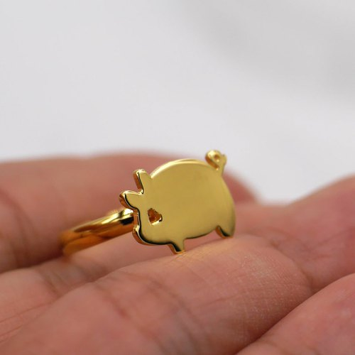 Handmade Little Pig ring - 18K gold plated on brass, Tiny ring, Animal Jewelry,birthday gifts
