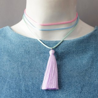 Colorful pastel layered choker with lilac tassel