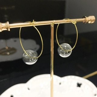 Glass ball Earrings Christmas Gift Big Hoop