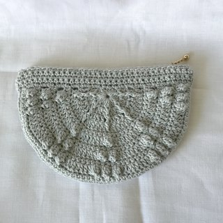 Crochet Make-up Pouch / Accessories Pouch / Pencil Case - Grey