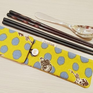 Green cutlery storage bag chopsticks bag combination chopsticks special double chopsticks dot pop style