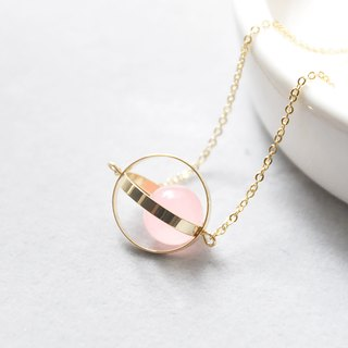 幸福星球。宇宙。金環。粉玉髓。 項鍊 Blessed Planet。Galaxy。Golden Ring。Pink Chalcedony。Necklace