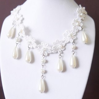 SL120 Light you up elegant white lace necklace