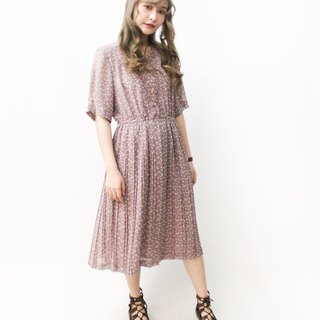 【RE1004D1409】 early autumn Japanese system retro floral loose red beans short-sleeved ancient dress