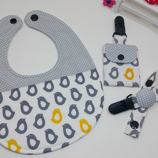 Little penguins lined up for a whole month bibs + gift bags peace symbol clip + pacifier clip chain