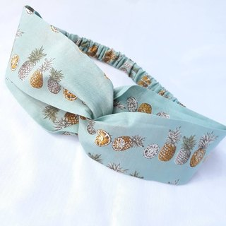 Lake green pineapple pattern handmade hair band