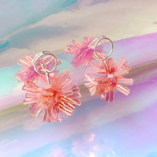 Salmon Fish Crystal Coral Sterling Silver Earrings