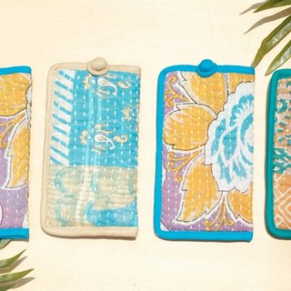 Limited hand hand-sewn sari cloth phone sets / embroidery phone bag / embroidery phone shell / hand-sewn sari line leisure card sets / sari cloth stitching - forest garden + desert cloth