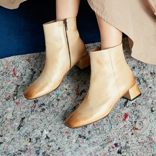 H THREE classic square ankle boots / nude / retro / rough with