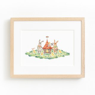 "Picturesque living. Framed Art Print ""Usagi and the Chick Carroban"" FAP-A 5228"
