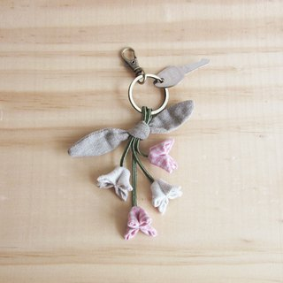 Handmade Four Cork Flower Key Chain Chains Botanical Dyed Cotton